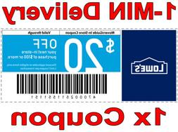 1× Lowes $20 OFF $100 𝐄𝐗𝐏 𝟔/𝟏𝟐 FAST DELIV