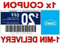 1× Lowes $20 OFF $100 FAST DELIVERY -1COUPON INSTORE & ONLI