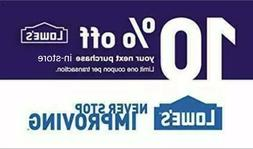Lowes 10% OFF INSTANT DELIVERY-1COUPON PROMO IN-STORE Not 20