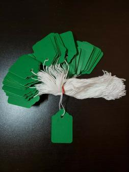 100 Green Price Tags String Merchandise Garment Hang Coupon
