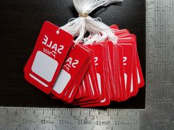 100 Red White Sale Price Tags w/ String Merchandise Garment