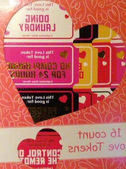 16 Count Love Tokens Coupons  for Romance Anniversary New  S