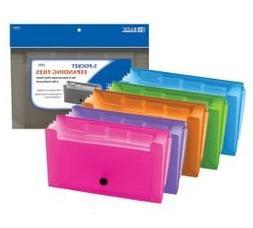 3 Pk, BAZIC Assorted 5-Pocket Expanding Files