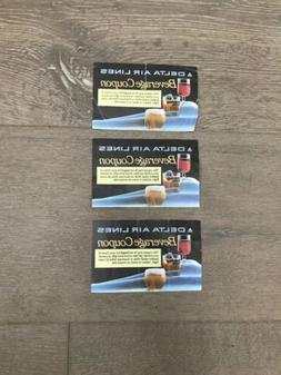 3 Vintage Collectible Delta Airlines Drink Coupons with the