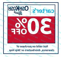 CARTER'S / OSHKOSH 30 % off coupon code