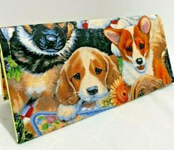 CHECK BOOK COVER COUPON HOLDER CLOTH DOGS NEW HANDMADE