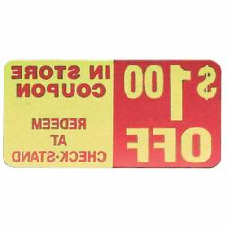 """Coupon Labels $1.00 Off Labels Red/Yellow - 2"""" L x 1"""" H 500"""
