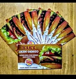 DONT STARVE!! Lot of 10 Burger King Combo Gift Cards
