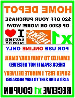 Home Depot $20 off $200 - ONLINE ONLY - x1Coupon FAST 1 Minu