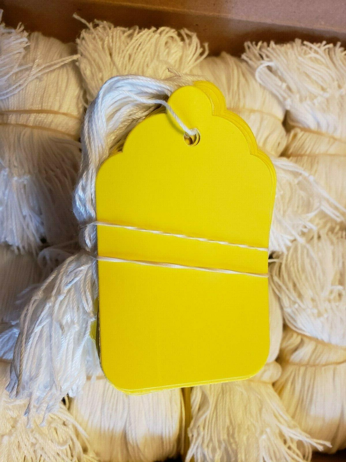 100 blank yellow strung merchandise price tags