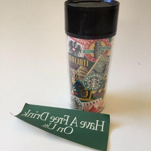 1996 stamp collage travel tumbler thermo serv
