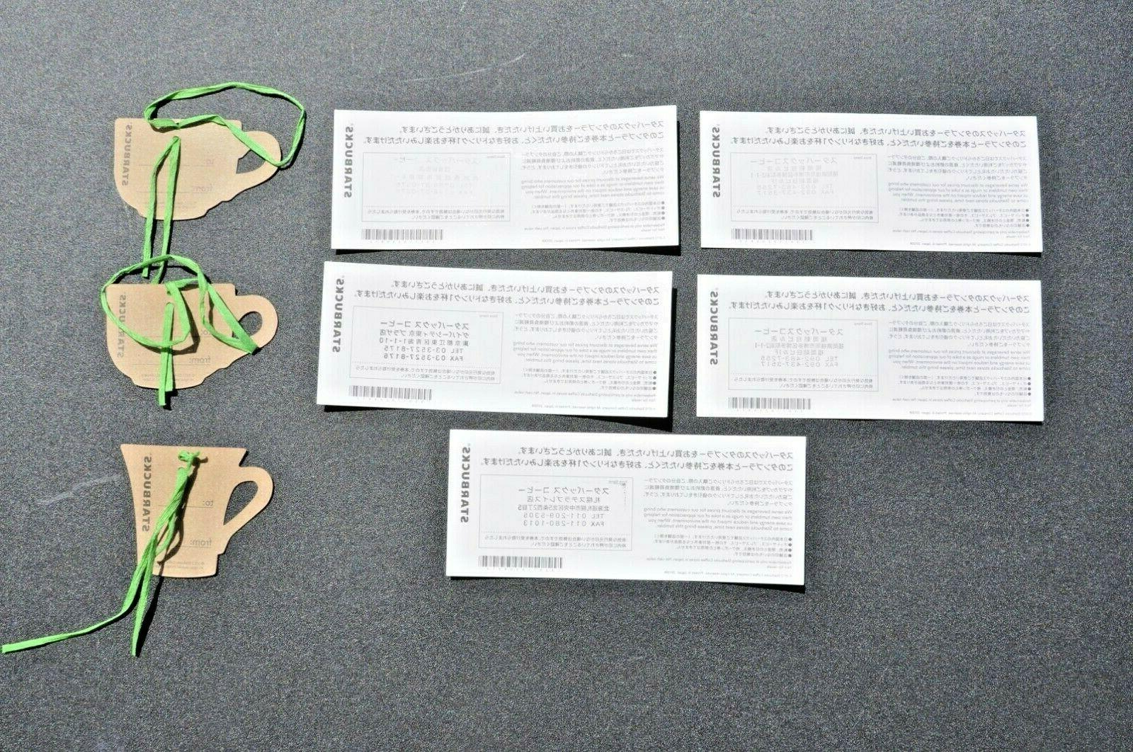 5 2012 JAPAN ONLY COUPONS STARBUCKS JAPAN GIFT TAGS NEW