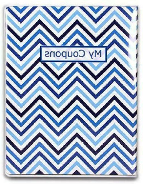 9-Pocket Coupon Organizer Portfolio - Chevron Blue