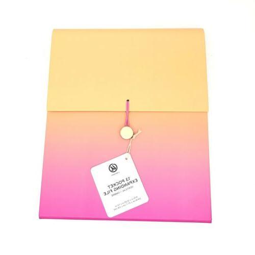expandable 13 pocket file folder pink paper