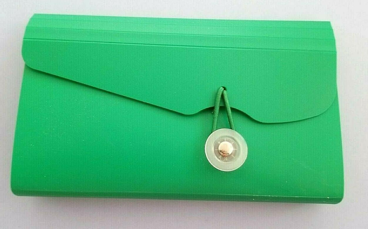green pvc coupon canceled check organizer nwot