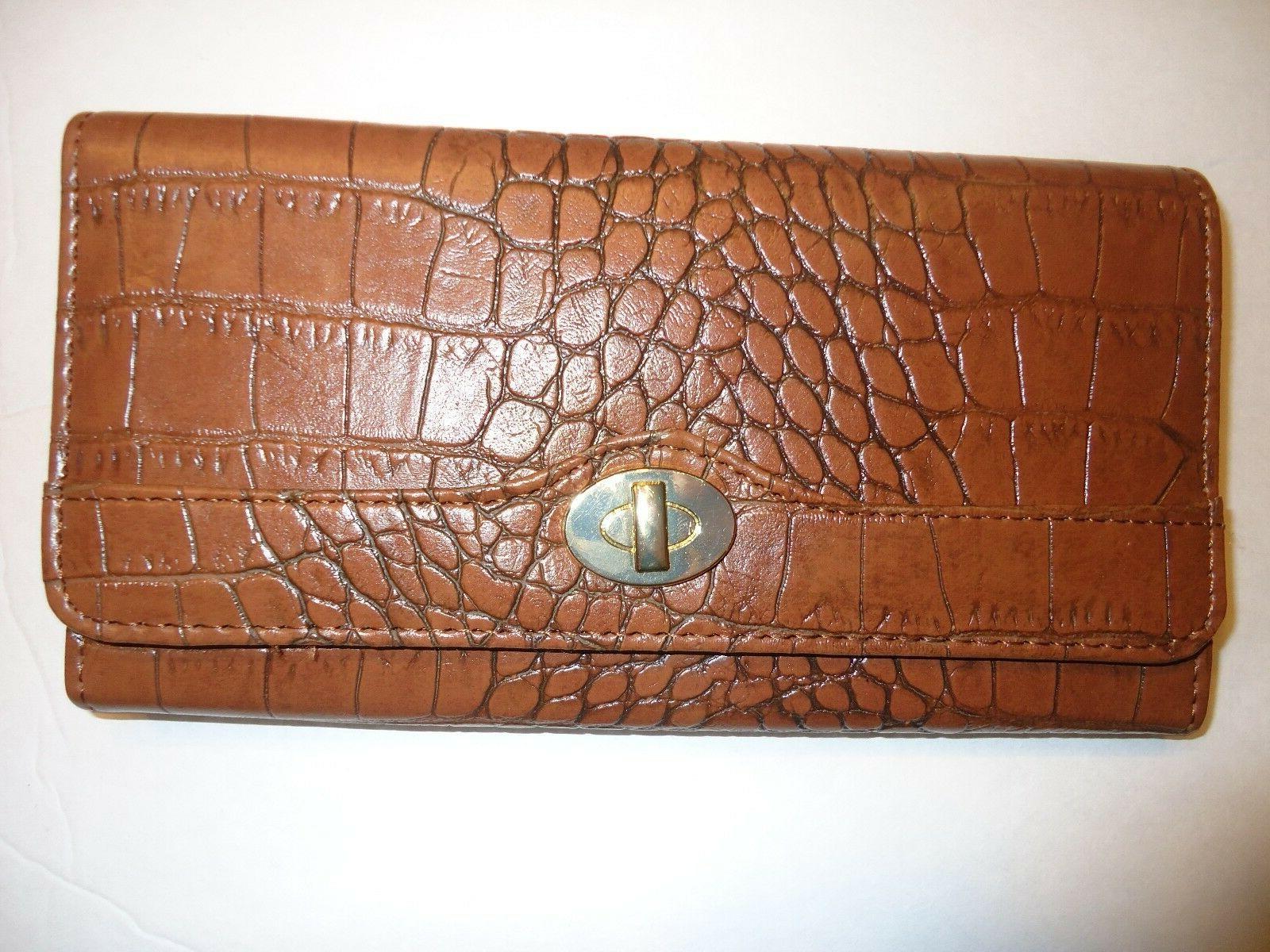 ladies coupon clutch wallet luggage tan