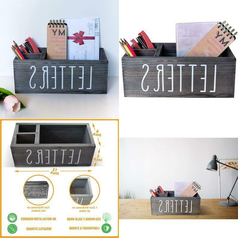 rustic mail organizer with pen holder bill