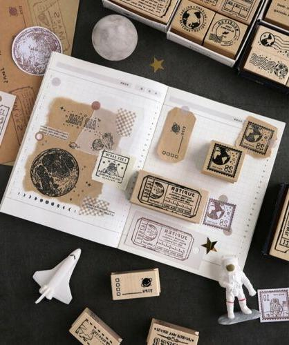 space theme wooden rubber stamps multi functional