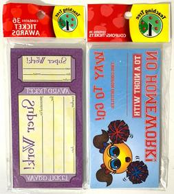 Lot of 2 Packs Teacher Student Reward Coupons 72 Ct Tickets