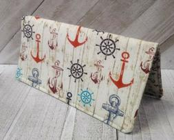 NAUTICAL Anchor Print Fabric WALLET Cash Keeper Document Cou