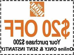 ONE 1x Home Depot 1Coupon $20 OFF $200 ONLINE-USE-ONLY INSTA