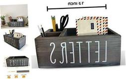 Rustic Mail Organizer with Pen Holder - Bill & Coupon Organi