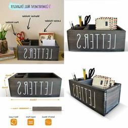 Rustic Mail Organizer with Pen Holder - Bill & Coupon 13in