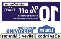 ONE 1X Lowes 10% OFF1Coupons-Instore Only-_Very_Very_FAST-SE