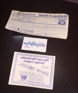 Vintage WWF Fan Club Application Form & Coupon MID 80'S WWE