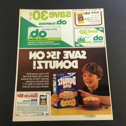 VTG Retro 1982 Powdered Donutz Crispy Sweetened 3-Grain Cere