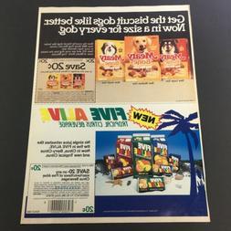 VTG Retro 1985 Meaty Bone Dog Biscuits & Five Alive Tropical