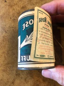 Vtg Tube Rose Snuff Tobacco Tin Jar NOS w/Coupons Unused Win