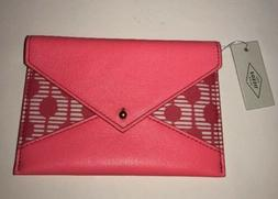 Women's Fossil Pink Sofia Envelope Wallet/Passport/Coupon/Cl